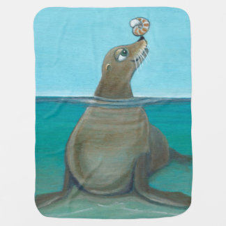 """Silly Sea Life""  Playful Sea Lion Stroller Blanket"