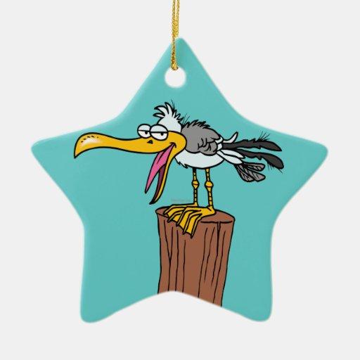 silly seagull cartoon Double-Sided star ceramic christmas ornament