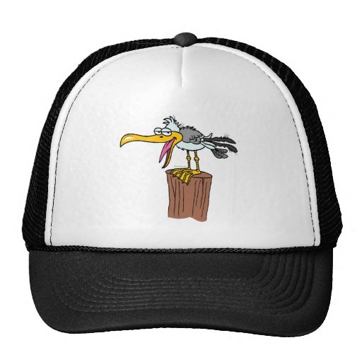 silly seagull cartoon mesh hat