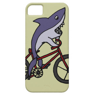 Silly Shark Riding Bicycle Cartoon iPhone 5 Cases