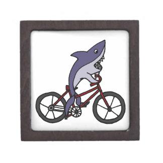 Silly Shark Riding Bicycle Cartoon Jewelry Box