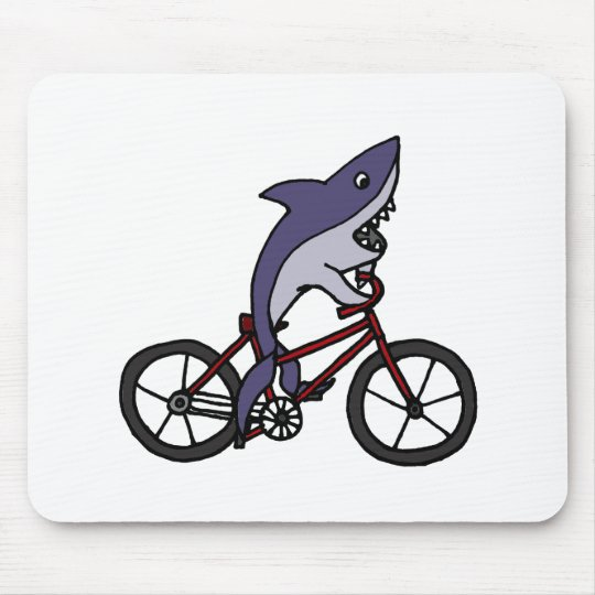 Silly Shark Riding Bicycle Cartoon Mouse Pad