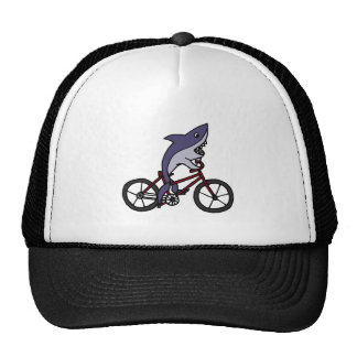 Silly Shark Riding Bicycle Cartoon Trucker Hat