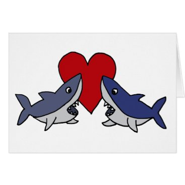 Valentines Themed Silly Sharks in Love Art Card