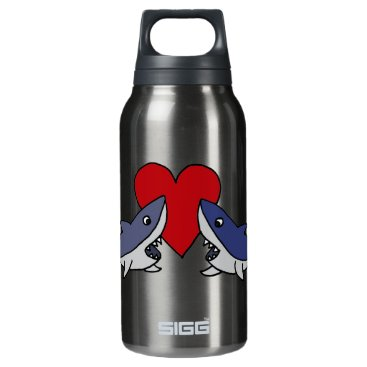 Valentines Themed Silly Sharks in Love Art Insulated Water Bottle