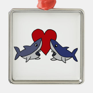 Silly Sharks in Love Art Metal Ornament
