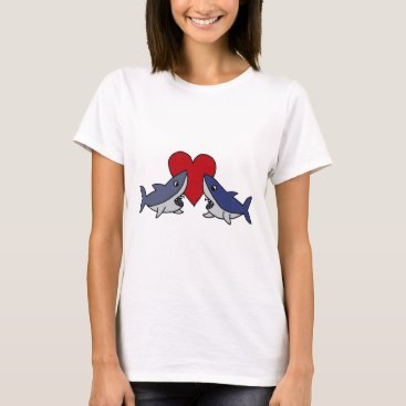 Valentines Themed Silly Sharks in Love Art T-Shirt