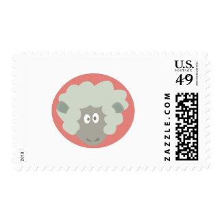 silly sheep face postage stamp