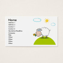 silly sheep on a hill with a flower business card