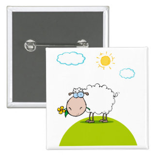 silly sheep on a hill with a flower button