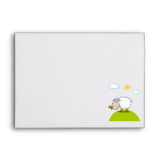 silly sheep on a hill with a flower envelope