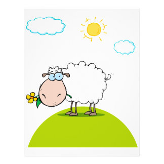 silly sheep on a hill with a flower personalized flyer