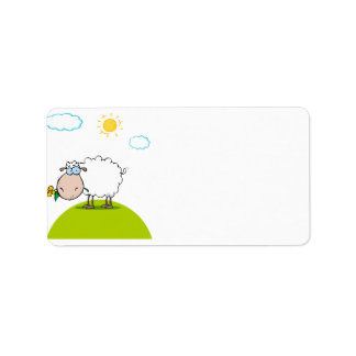 silly sheep on a hill with a flower label