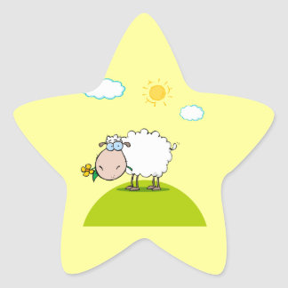 silly sheep on a hill with a flower star sticker