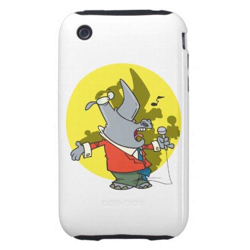 silly singing karaoke rhino cartoon iPhone 3 tough case