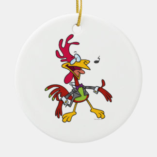 silly singing rooster cartoon ceramic ornament