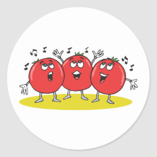 silly singing tomatoes trio classic round sticker