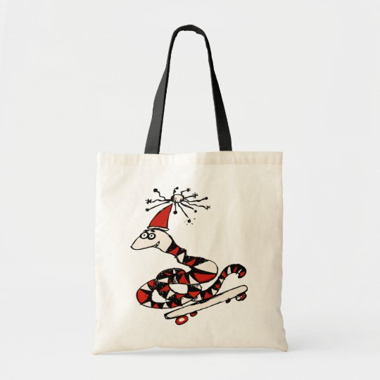 Silly Skateboard Snake Tote Bag