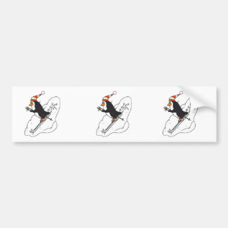 silly skiing penguin car bumper sticker