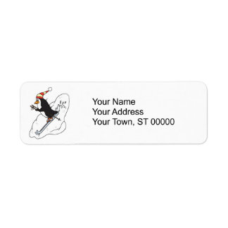 silly skiing penguin label