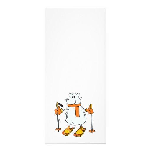 silly skiing polar bear custom rack cards