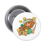 silly sleeping teddy bear design 2 inch round button