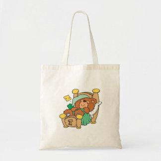silly sleeping teddy bear design budget tote bag