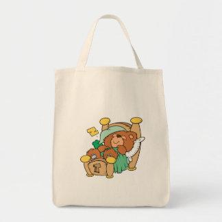 silly sleeping teddy bear design grocery tote bag
