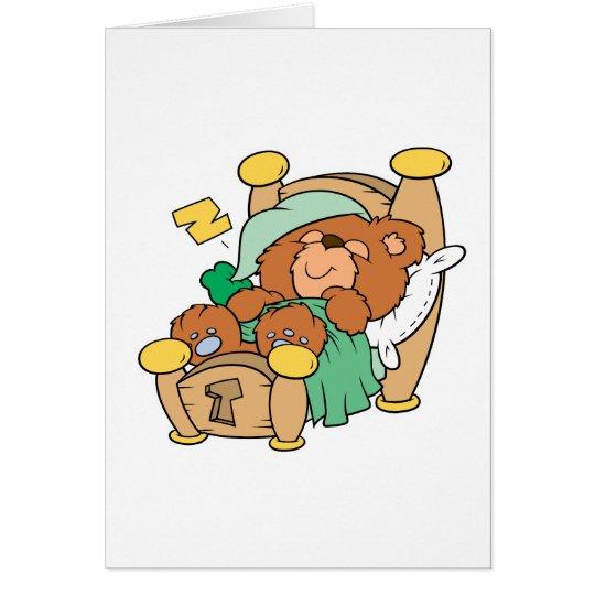 silly sleeping teddy bear design card