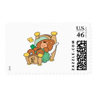silly sleeping teddy bear design postage
