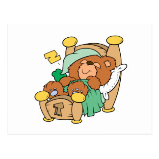 silly sleeping teddy bear design postcard