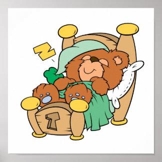 silly sleeping teddy bear design poster