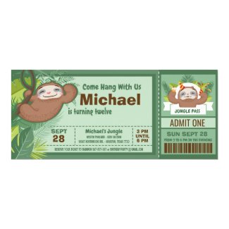 Silly Sloth Boy Jungle Ticket Pass Birthday Party Invitation
