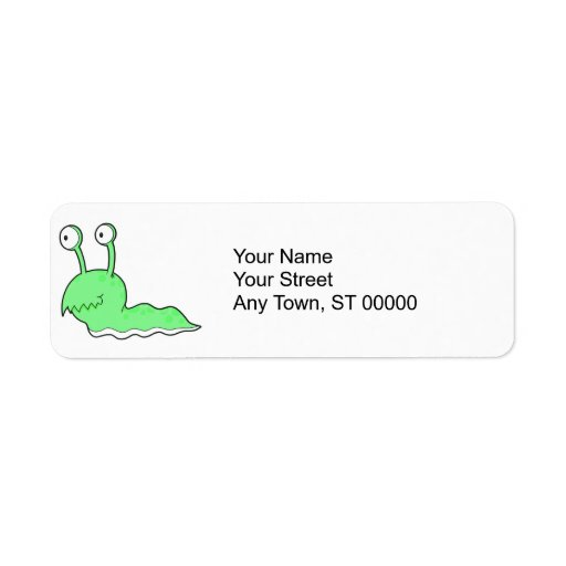 silly sluggy green monster return address label