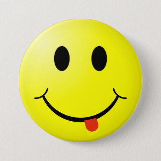 Silly Smiley Face Button with tongue sticking out!
