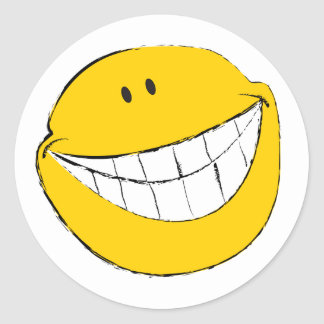 Silly Smiley Face Grin Round Sticker