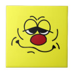 Silly Smiley Face Grumpey Ceramic Tile