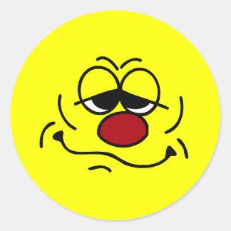 Silly Smiley Face Grumpey Classic Round Sticker