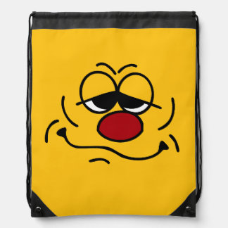 Silly Smiley Face Grumpey Drawstring Backpack