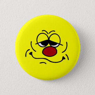 Silly Smiley Face Grumpey Pinback Button