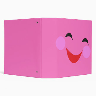 silly smiley face pink notebook 3 ring binder