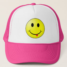 Silly Smiley Face with tongue sticking out! Trucker Hat