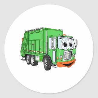 Silly Smiling Garbage Truck Cartoon Classic Round Sticker