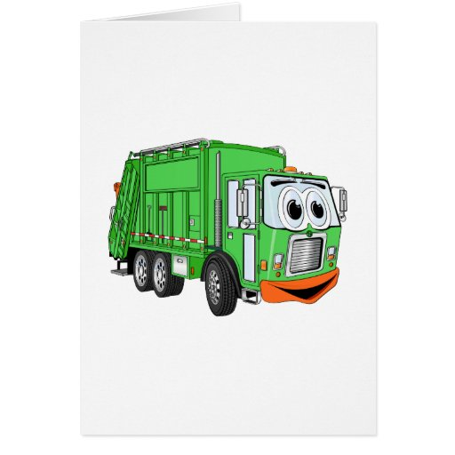 Silly Smiling Garbage Truck Cartoon Greeting Card