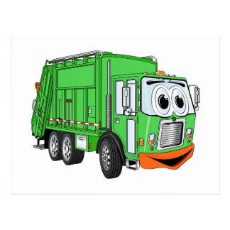 Silly Smiling Garbage Truck Cartoon Postcard