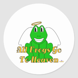 Silly Smiling Green Frog Angel All Frogs Go To Hea Classic Round Sticker