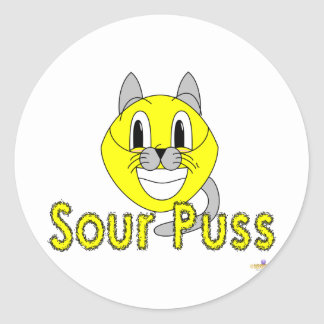 Silly Smiling Lemon Cat Costume Sour Puss Classic Round Sticker