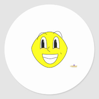 Silly Smiling Lemon Classic Round Sticker