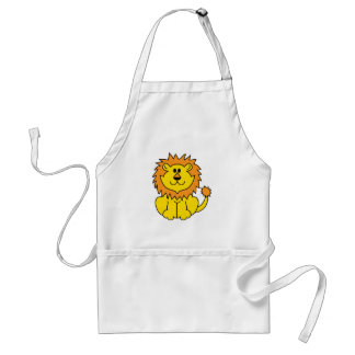 silly smiling lion aprons