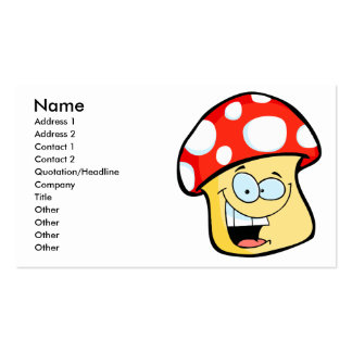 silly smiling mushroom toadstool cartoon character business card